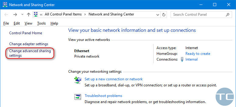 change advanced sharing settings windows 10