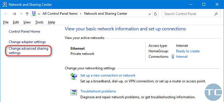 change advanced sharing settings windows 10
