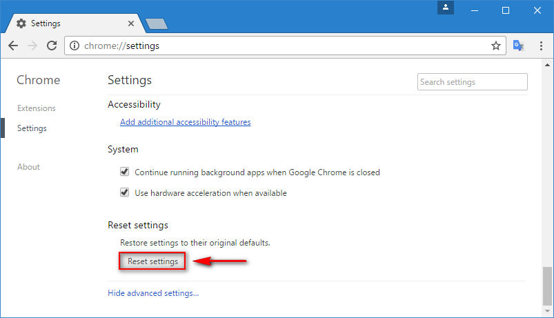 chrome reset settings