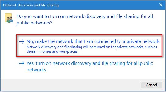 make the network that I am connected to a private network