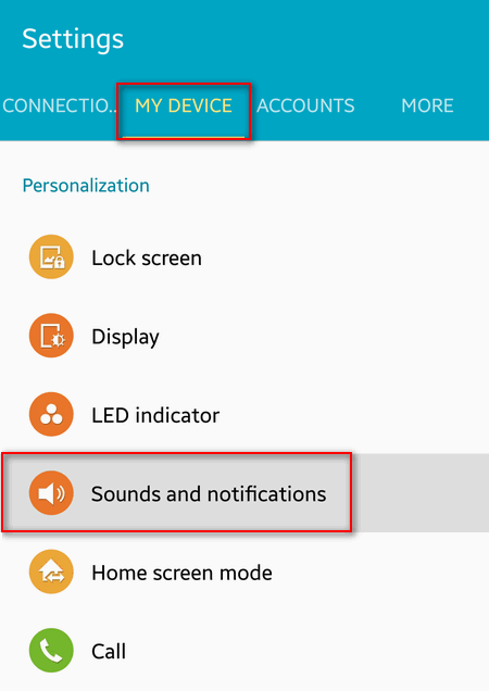 my device sound and notifications