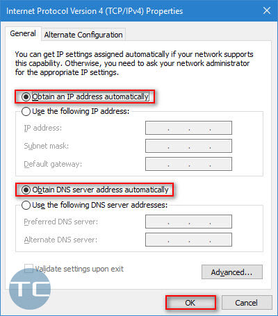 obtain an IP address and DNS server automatically