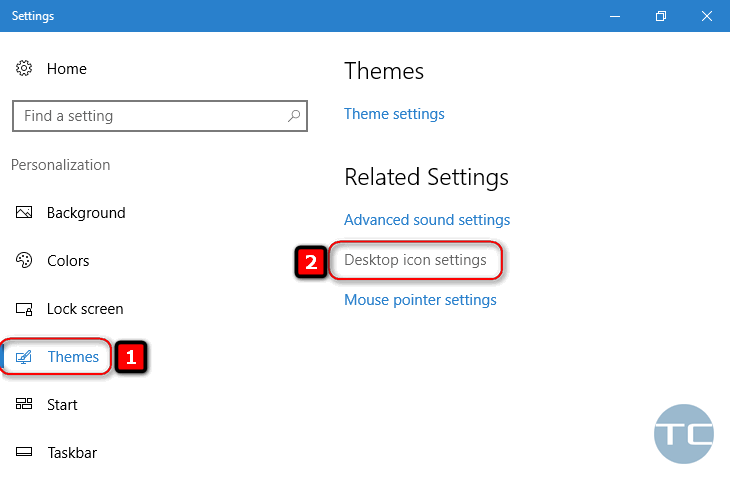 themes - desktop icon settings