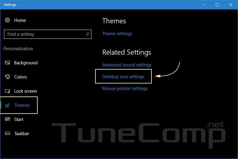 themes desktop icon settings