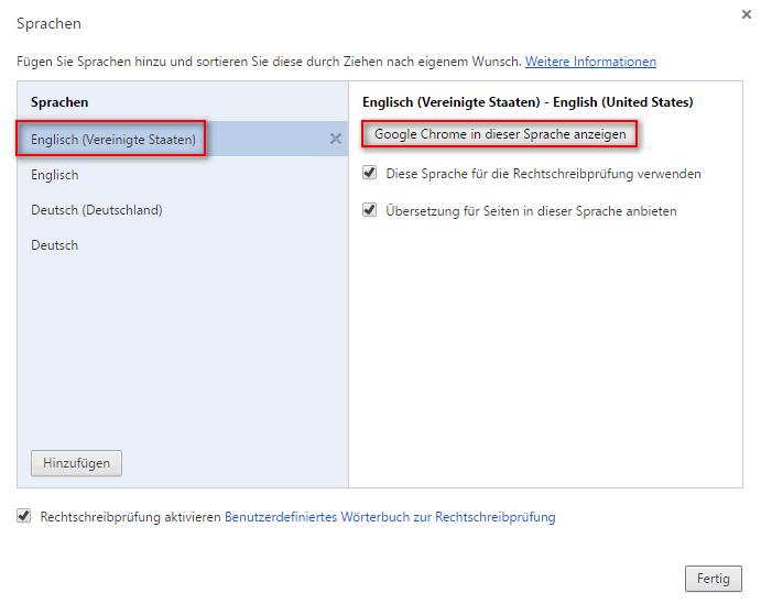 change Chrome ui language to English