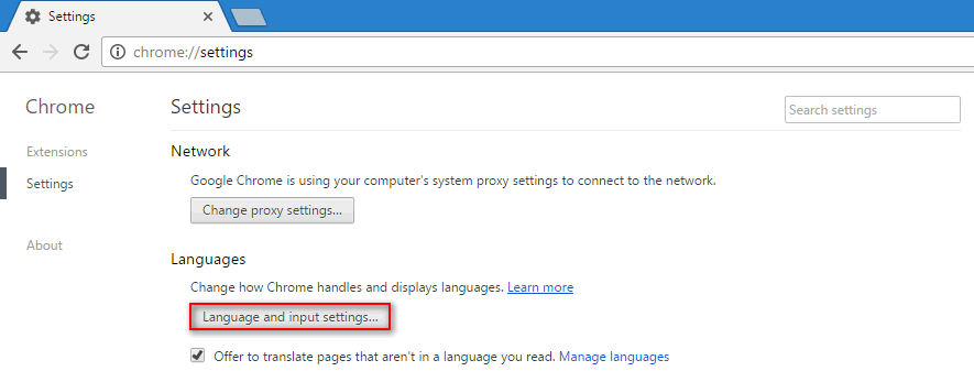 chrome language and input settings