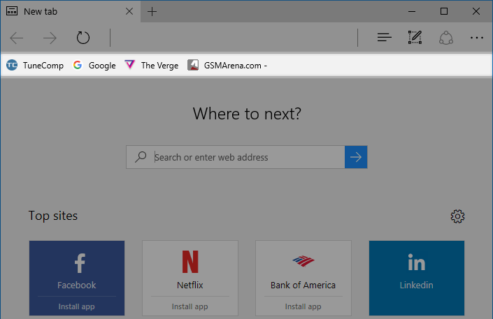 favorites bar enabled in Edge