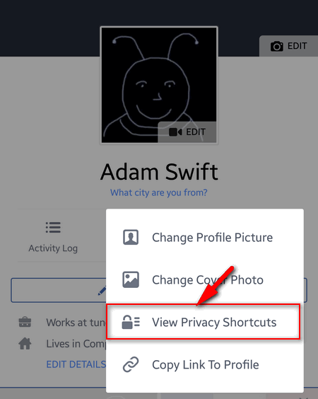 view privacy shortcuts in facebook app