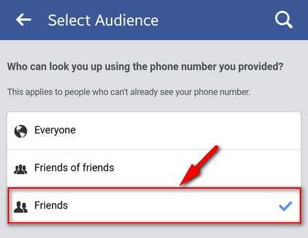 facebook phone friends only
