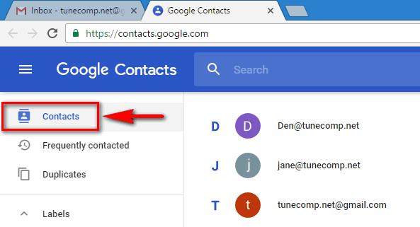 Google Contacts - main contacts