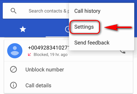 Phone app Settings Android 7