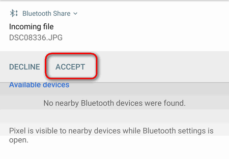 accept an incoming file over bluetooth