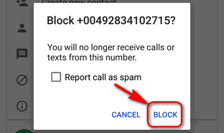 block phone number on Android 7