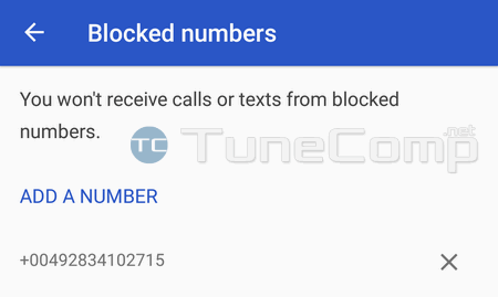 blocked numbers Android 7