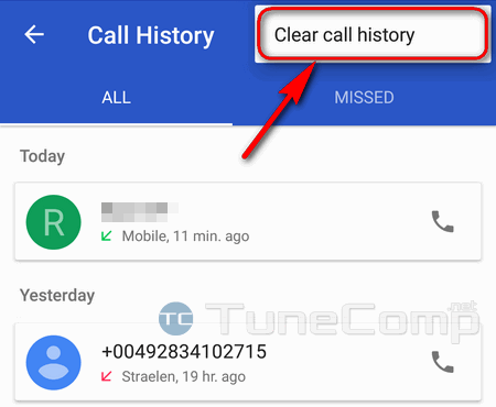 clear call history on Google Pixel Android 7