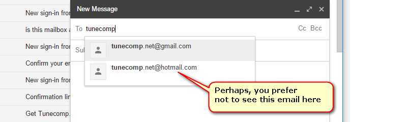 remove email address from suggestions in GMail