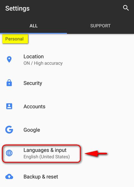 languages and input Google Pixel