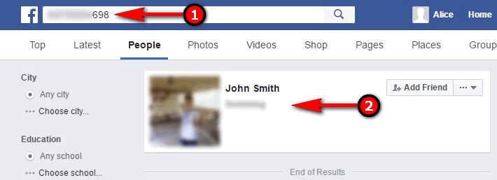 search by phone number on facebook