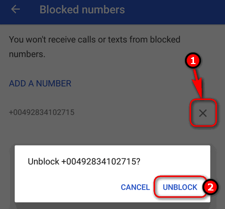 unblock number from the black list
