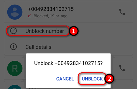 unblock number in Phone app Android 7