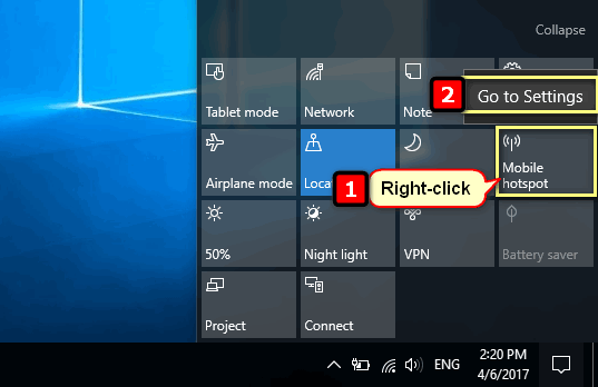 Mobile hotspot settings Windows 10