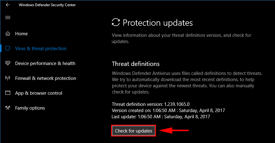 Windows Defender check for updates