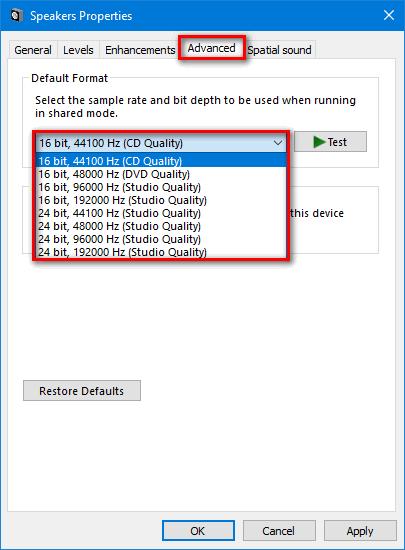 default format advanced speakers properties