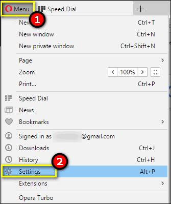 opera menu settings