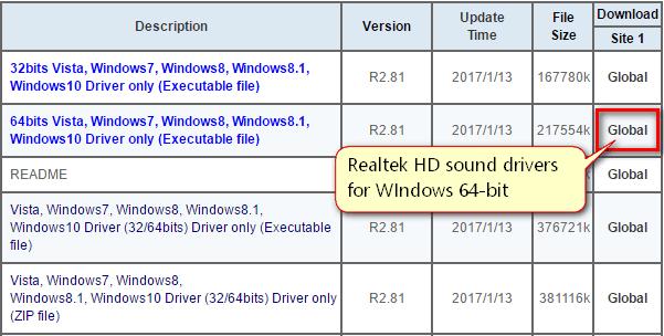 realtek HD drivers