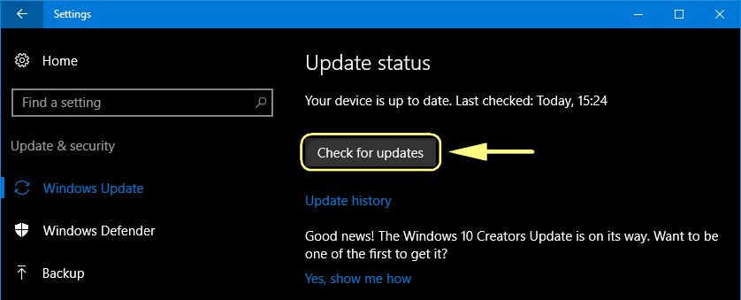receive Creators Update via Windows Update