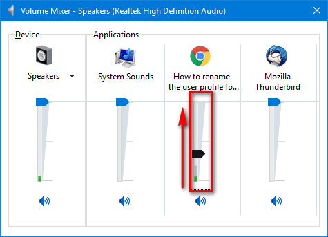 adjust browser volume in Windows 10 mixer