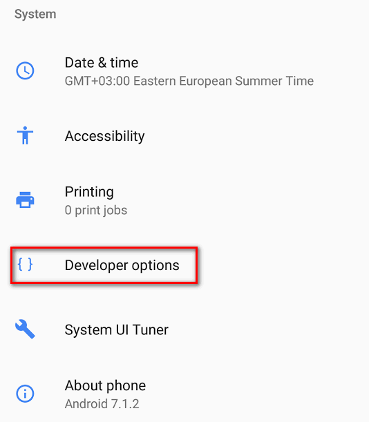 developer options Android 7.1