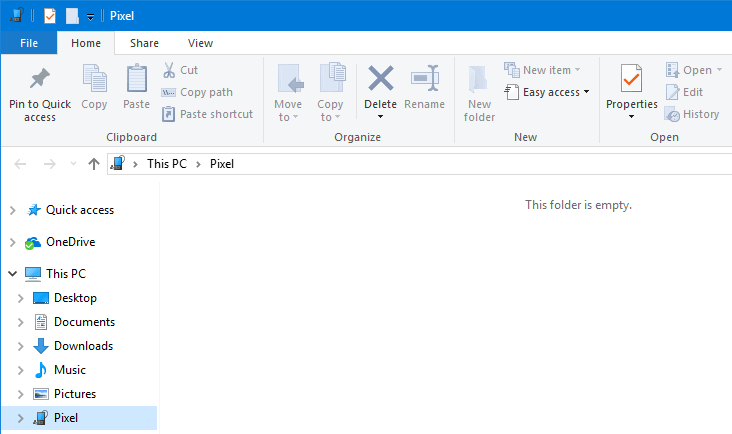 pixel windows 10 this folder is empty