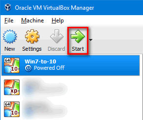 start virtual machine