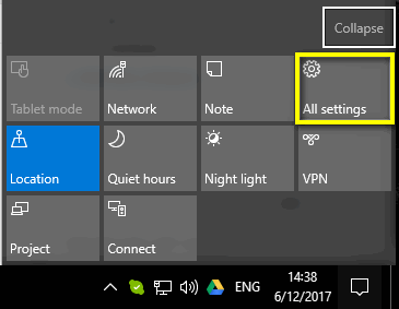 All Settings Windows 10 Creators Update