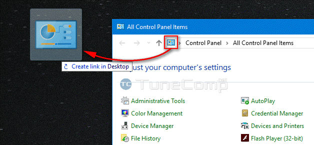 Control Panel on Desktop of Windows 10