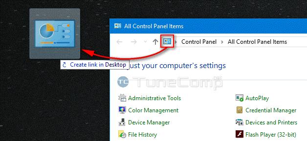 Control Panel on Desktop of Windows 10