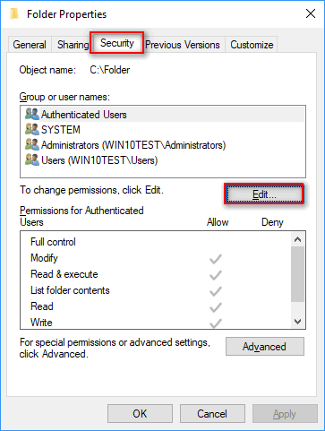 edit security permissions