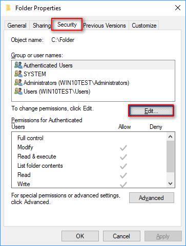 edit security permissions