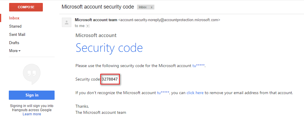 email microsoft security code