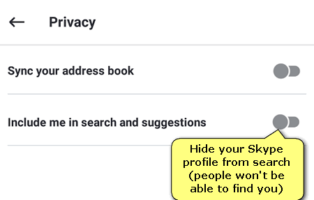 prevent from being found in search
