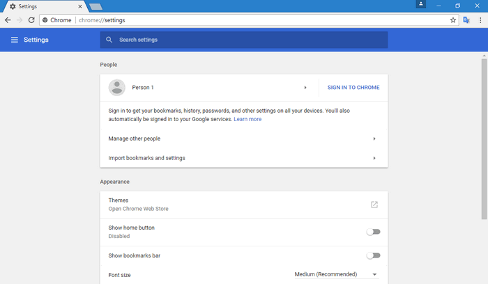 Chrome Settings Page New material design