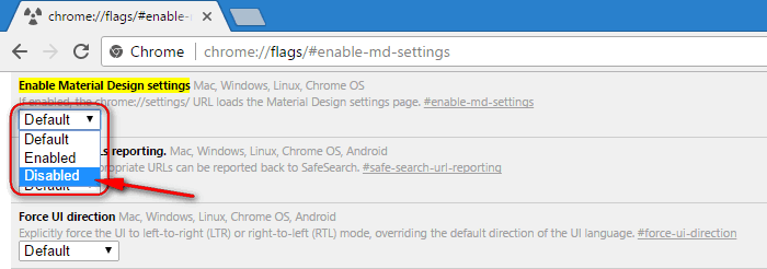 How To Disable Material Design For Google Chrome Settings Page