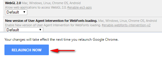 Chrome relaunch now