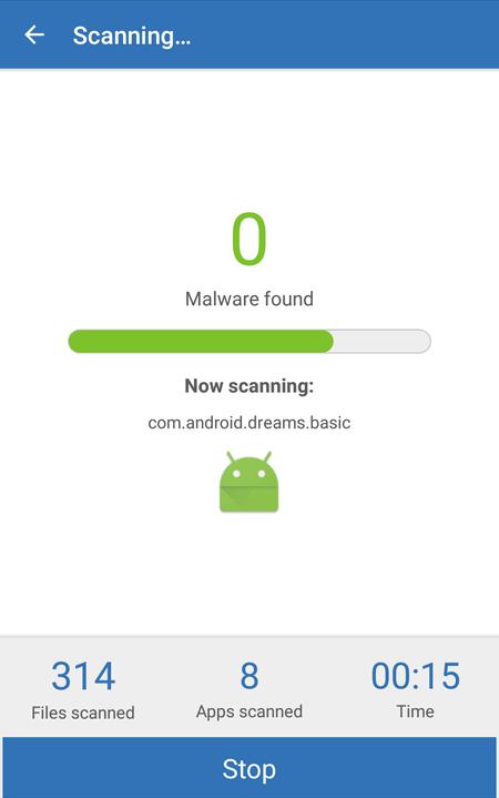 Malwarebytes Scanning Android