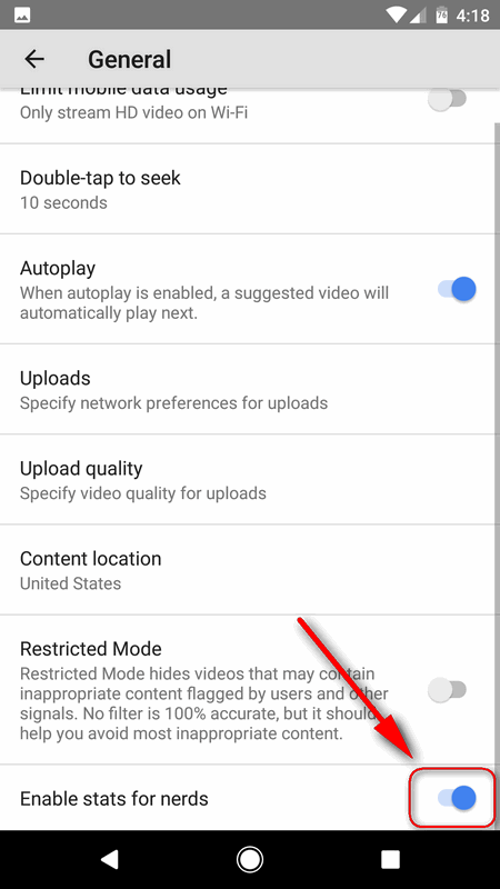 enable stats for nerds YouTube Android