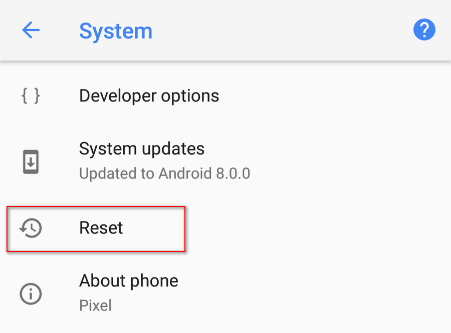 Android 8 System Reset