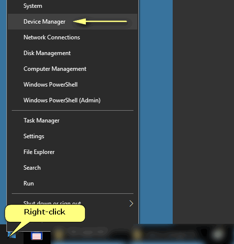 Device Manager in Win-x menu