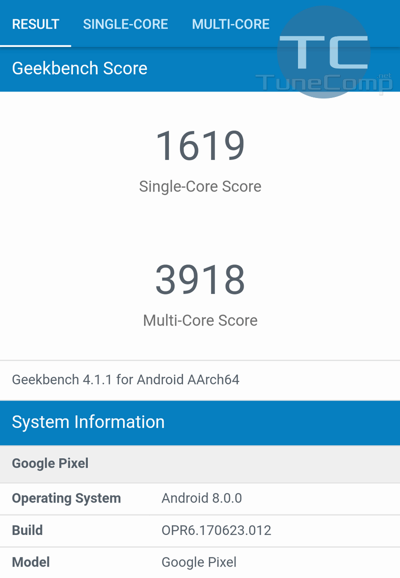 Google Pixel GeekBench Android 8.0
