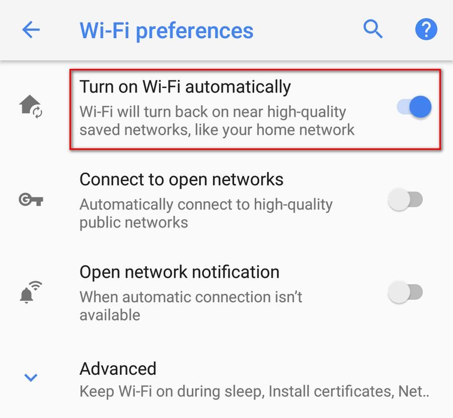 Turn on Wi-Fi Automatically